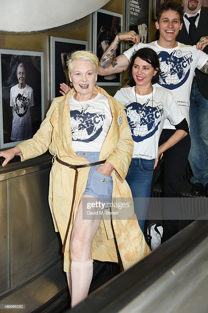 Dame Vivienne Westwood, Sadie Frost and model Leebo Freeman attend the launch of the 'Save The Arctic' exhibition with Greenpeace hosted by London Underground at Waterloo Station on July 13, 2015 in London, England.