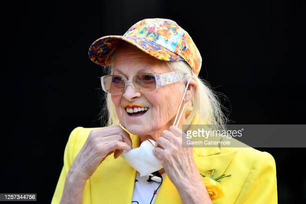 Dame Vivienne Westwood smiles outside the Old Bailey on July 21, 2020 in London, England. Dame Vivienne Westwood, re-entering public life for the...