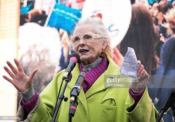 Dame Vivienne Westwood Speaks At Junior Doctors Protest at Waterloo Place on on February 6, 2016 in London, England.
