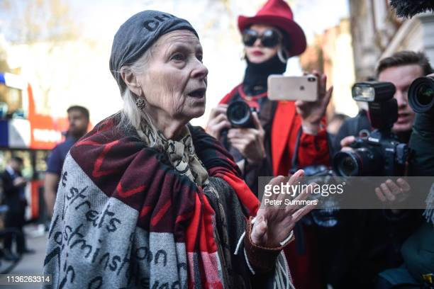 Dame Vivienne Westwood speaks to members of the media outside Westminster Magistrates Court on April 11, 2019 in London, England. Wikileaks founder...