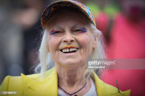 Dame Vivienne Westwood suspend 10 Ft high inside giant bird cage in protest for Julian Assange at Old Bailey on July 21, 2020 in London, England....