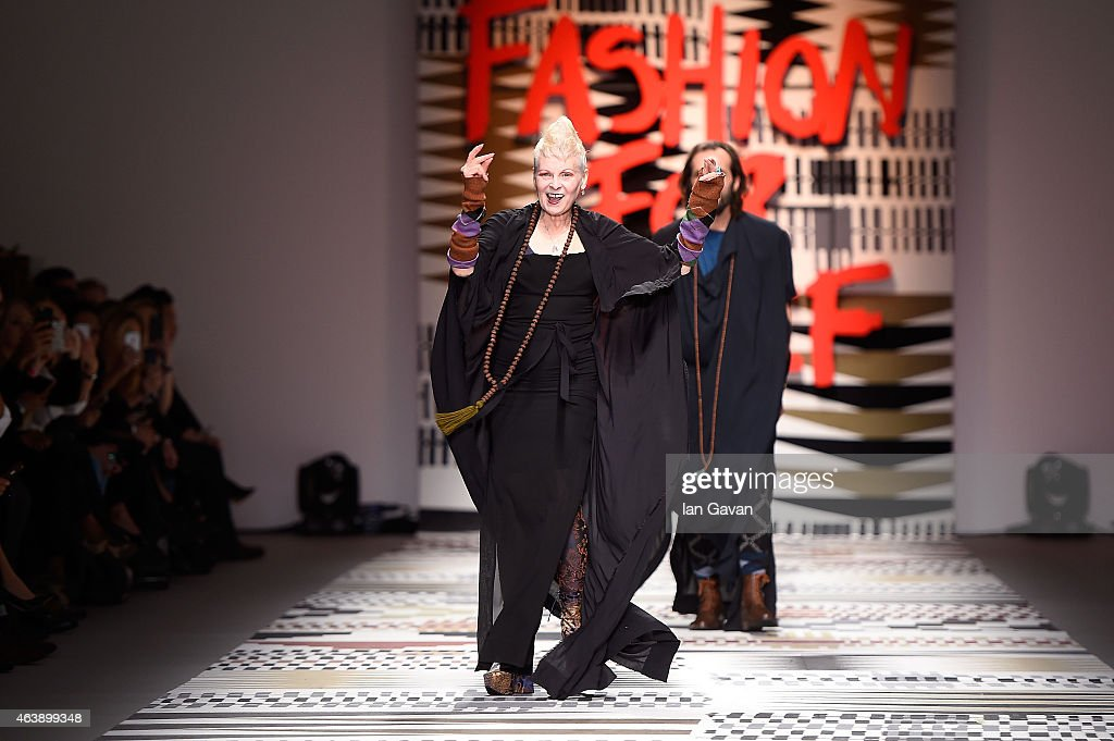 Dame Vivienne Westwood walks the runway at the Fashion For Relief charity fashion show to kick off London Fashion Week Fall/Winter 2015/16 at Somerset House on February 19, 2015 in London, England. The Fashion For Relief show is in support of Ebola, raising funds and awareness for Disaster Emergency Committee: Ebola Crisis Appeal and the Ebola Survival Fund.
