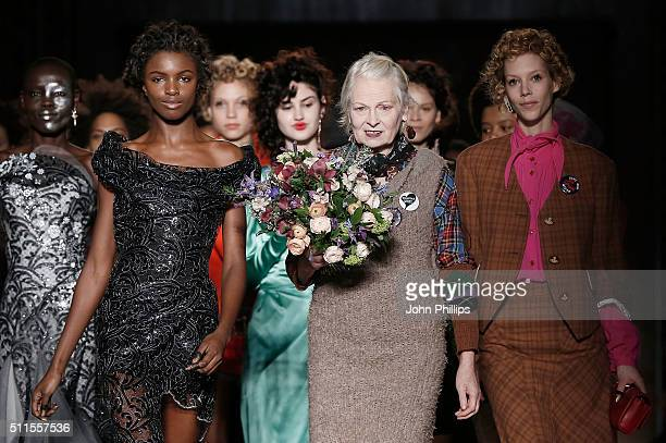 Dame Vivienne Westwood walks the runway at the her show during London Fashion Week Autumn/Winter 2016/17 at Royal College of Surgeons on February 21...