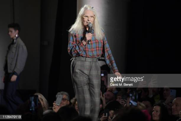 Dame Vivienne Westwood walks the runway at the Vivienne Westwood show during London Fashion Week February 2019 on February 17, 2019 in London,...