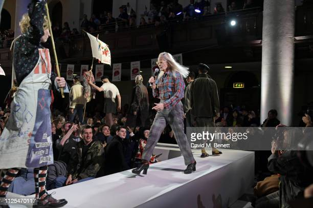 Dame Vivienne Westwood walks the runway at the Vivienne Westwood show during London Fashion Week February 2019 on February 17 2019 in London England