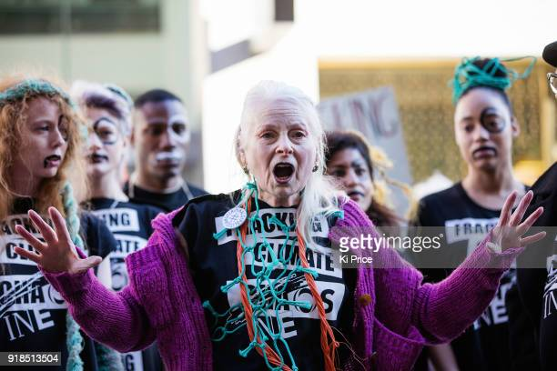 Dame Vivienne Westwood walks the runway to model in the #INEOSVTHEPEOPLE catwalk presentation outside INEOS headquarters in Hans Crescent on February...