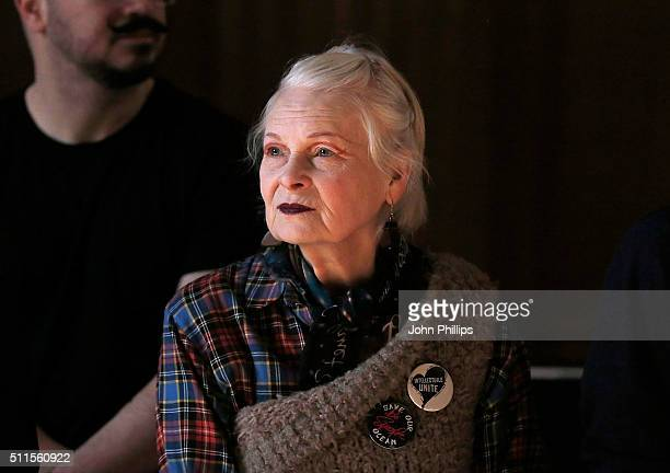Dame Vivienne Westwood watches rehearsals ahead of her show during London Fashion Week Autumn/Winter 2016/17 at Royal College of Surgeons on February...