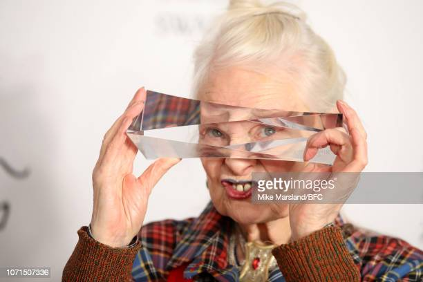 Dame Vivienne Westwood winner of the Swarovski Award for Positive Change in the winners room during The Fashion Awards 2018 In Partnership With...