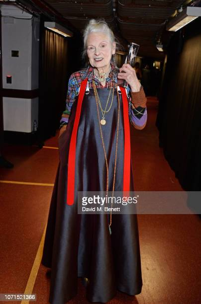 Dame Vivienne Westwood winner of the Swarovski Award for Positive Change poses backstage at The Fashion Awards 2018 in partnership with Swarovski at...