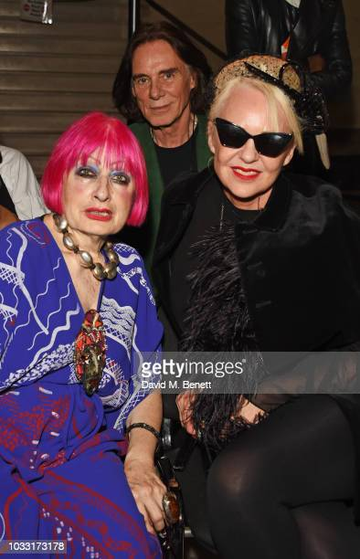 Dame Zandra Rhodes and Amanda Eliasch attend the Pam Hogg front row during London Fashion Week September 2018 at The Freemason's Hall on September 14...