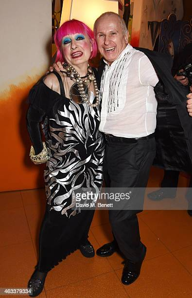 Dame Zandra Rhodes and Wayne Sleep attend a party to celebrate Zandra Rhodes becoming a Dame at The Fashion and Textile Museum on February 13 2015 in...
