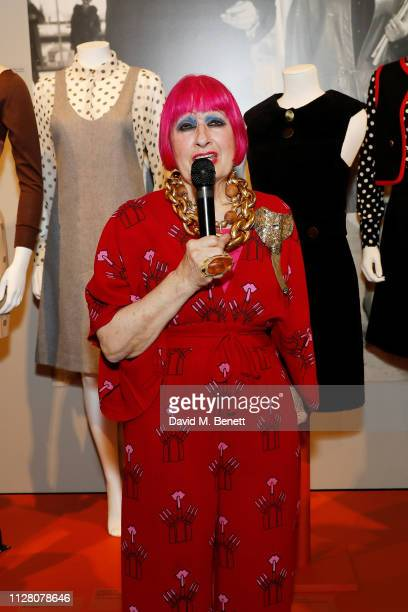 Dame Zandra Rhodes attends the Swinging London A Lifestyle Revolution Private View featuring the work of Terence Conran Mary Quant Laura Ashley and...