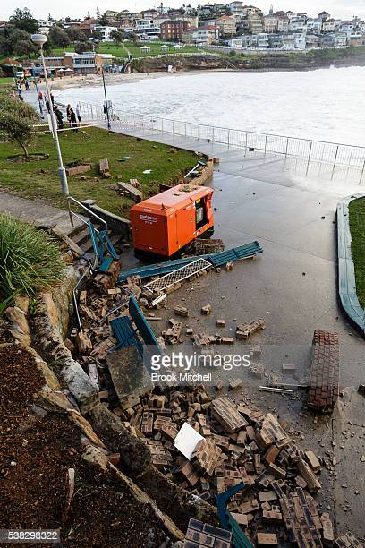 Damge to the Bronte Beach foreshore on June 6 2016 in Sydney Australia Torrential rain over the weekend saw streets and homes flooded while wind...