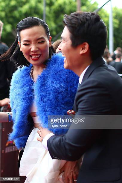 Dami Im and her husband Noah Kim arrive at the 28th Annual ARIA Awards 2014 at the Star on November 26 2014 in Sydney Australia