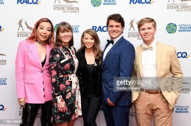 Dami Im, Terri Irwin, Bindi Irwin, Chandler Powell and Robert Irwin pose for a photo at the annual Steve Irwin Gala Dinner at Brisbane Convention &...