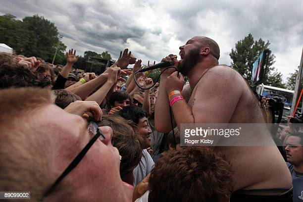 Damian Abraham of Fucked Up performs onstage during the Pitchfork Music Festival at Union Park on July 18 2009 in Chicago