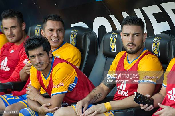 Damian Alvarez and Andy Delort of Tigres are seen prior the 10th round match between Tigres UANL and Puebla as part of Torneo Apertura 2016 at...