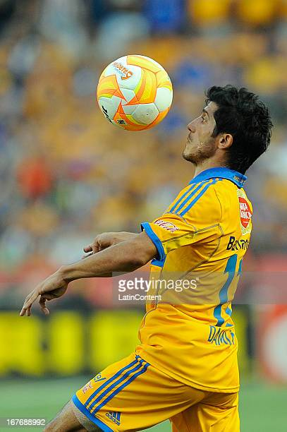 Damian Alvarez dominates the ball during the match between Tigres and Monterrey as part of the Clausura 2013 Tournament on April 27 2013 in Monterrey...