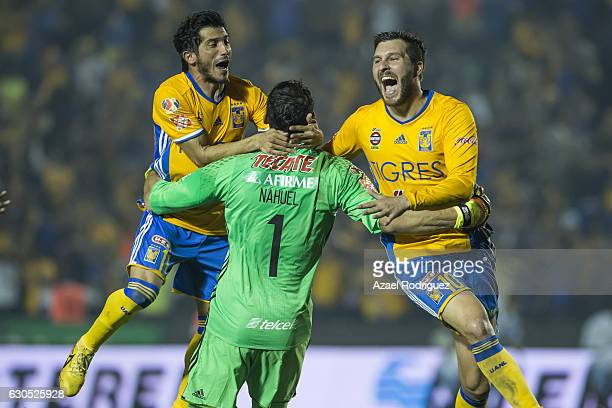 Damian Alvarez Nahuel Guzman and Andre Gignac of Tigres celebrate after the Final second leg match between Tigres UANL and America as part of the...