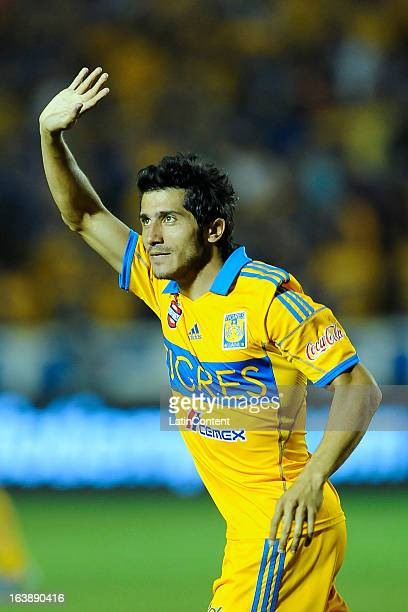 Damian Alvarez of Tigres celebrates a goal during the match between Tigres and Chivas as part of the Clausura 2013 Liga MX on March 16 2013 in...