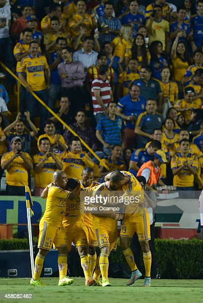 Damian Alvarez of Tigres celebrates after scoring his team's firs goal during a semifinal match between Tigres UANL and Santos Laguna as part of Copa...