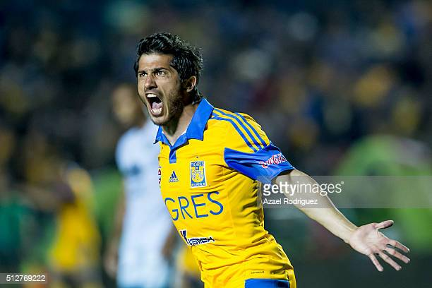 Damian Alvarez of Tigres celebrates after scoring his team's first goal during a 8th round match between Tigres UANL and America as part of the...