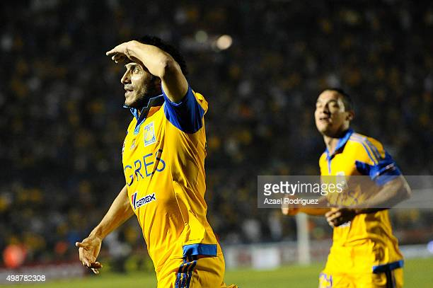 Damian Alvarez of Tigres celebrates after scoring his team's second goal during the quarterfinals first leg match between Tigres UANL and Chiapas as...
