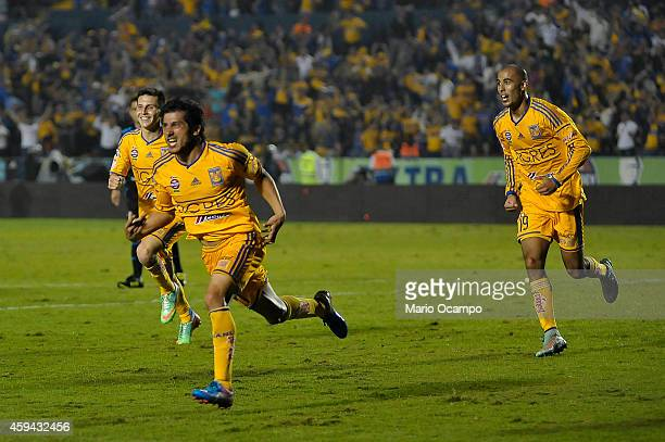 Damian Alvarez of Tigres celebrates after scoring the second and winning goal of his team during a match between Tigres UANL and Toluca as part of...