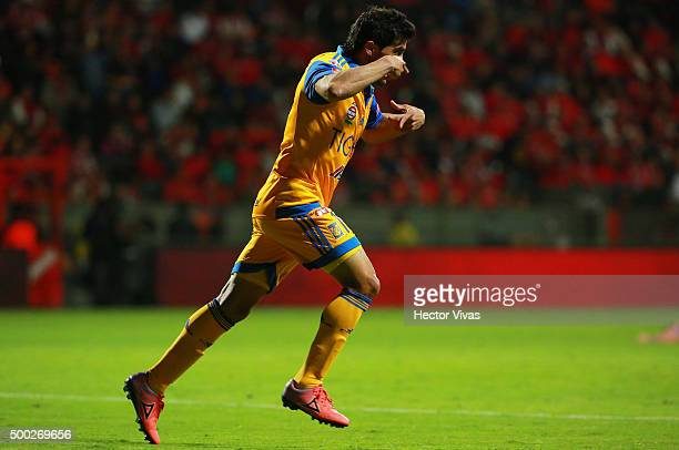 Damian Alvarez of Tigres celebrates after scoring the second goal of his team during the semifinals second leg match between Toluca and Tigres UANL...