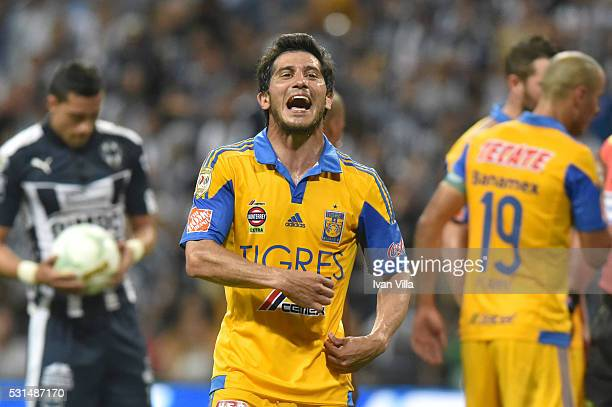 Damian Alvarez of Tigres celebrates during the quarter finals second leg match between Monterrey and Tigres UANL as part of the Clausura 2016 Liga MX...
