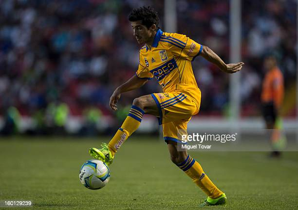 Damian Alvarez of Tigres controls the ball during a match between Queretaro and Tigres as part of the Clausura 2013 Copa MX at Corregidora Stadium on...