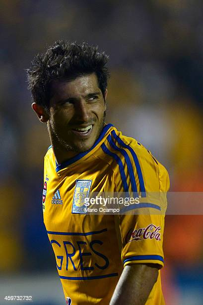 Damian Alvarez of Tigres looks on during a quarterfinal second leg match between Tigres UANL and Pachuca as part of the Apertura 2014 Liga MX at...