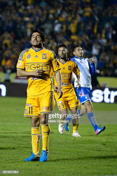 Damian Alvarez of Tigres reacts after missing a chance during a match between Tigres UANL and Puebla as part of 5th round Clausura 2015 Liga MX at...