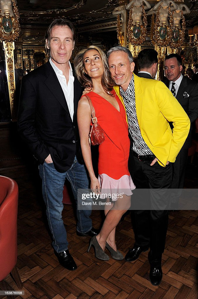 Damian Aspinall, Tara Bernerd and Patrick Cox attend a drinks reception celebrating Patrick Cox's 50th Birthday party at Cafe Royal on March 15, 2013 in London, England.