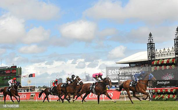 Damian Browne riding Buffering defeats Damien Oliver riding Shamexpress and Luke Nolen riding Moment of Change in Race 6 the VRC Sprint Classic...
