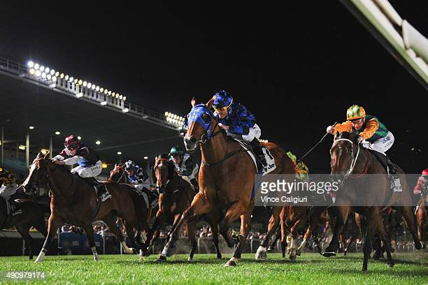 Damian Browne riding Buffering wins Race 7 the City Jeep Moir Stakes during Melbourne Racing at Moonee Valley Racecourse on October 2 2015 in...