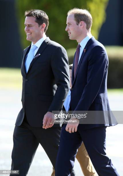 Damian Camp CEO of Pacific Aerospace and Prince William Duke of Cambridge walk to inspect a new plane at the Pacific Aerospace grounds at the...