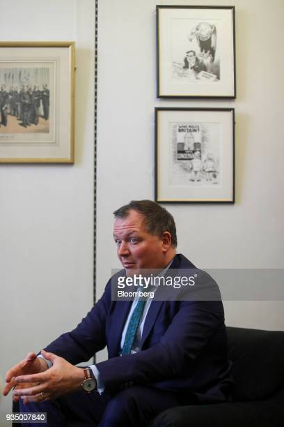 Damian Collins chairman of UK House of Commons' digital culture and sport committee speaks during an interview at his parliamentary office in London...