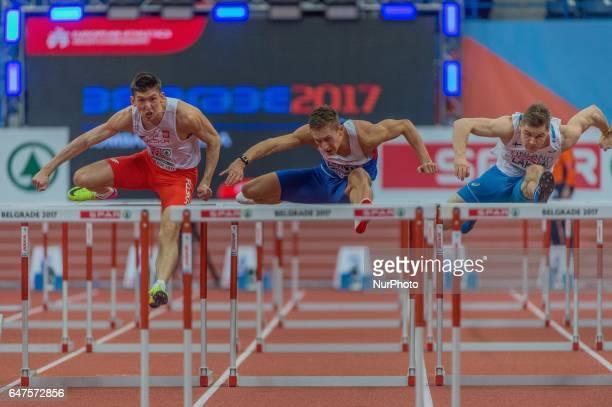 Damian CzykierPoland Elmo LakkaFinland during 60m Hurdles for men at European athletics indoor championships in Belgrade on March 3 2017
