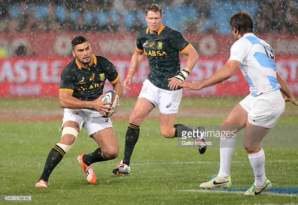 Damian de Allende of the Springboks during The Castle Rugby Championship match between South Africa and Argentina at Loftus Versfeld on August 16...