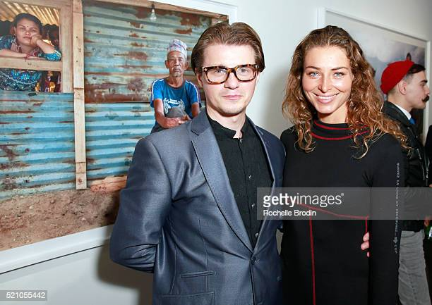 Damian de Langeron and actress Marina Kazankova attend the Photo Femmes Exhibition Opening at De Re Gallery featuring the work of Ashley Noelle...