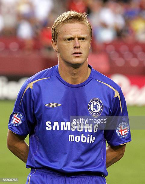 Damian Duff of Chelsea FC looks on before playing DC United during their World Series of Football match on July 28, 2005 at FedEx Field in Landover,...