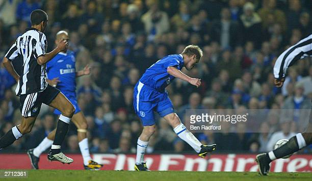 Damian Duff of Chelsea scores the fourth goal during the FA Barclaycard Premiership match between Chelsea and Newcastle United at Stamford Bridge on...