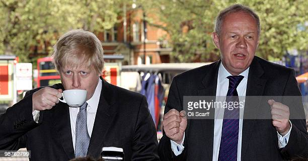 Damian Green the Conservative's Shadow Immigration Minister and Boris Johnson the Mayor of London campaign in Camden on April 30 2010 in London...