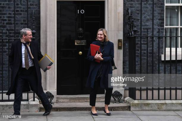 Damian Hinds UK education secretary left and Amber Rudd UK work and pensions secretary depart number 10 Downing Street following a weekly meeting of...