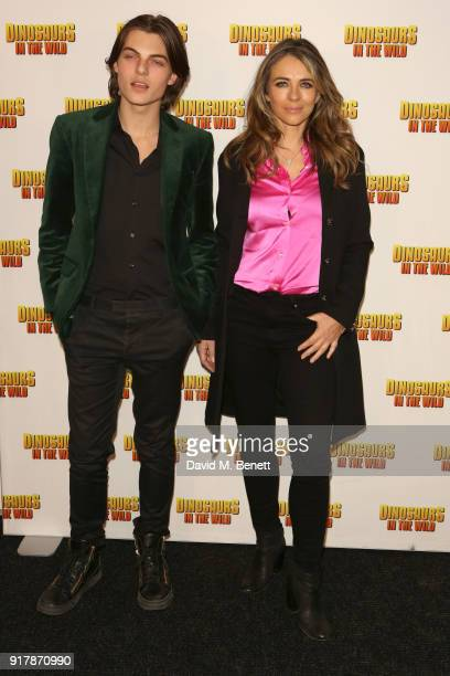 Damian Hurley and Elizabeth Hurley attend the launch of Dinosaurs in the Wild at Greenwich Peninsula on February 13 2018 in London England