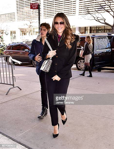 Damian Hurley and Elizabeth Hurley seen on the streets of Manhattan on December 1 2016 in New York City