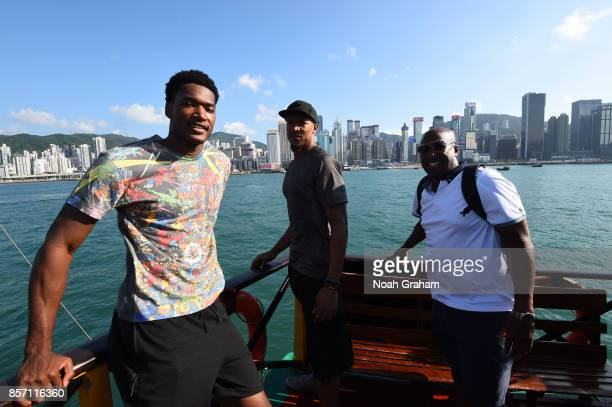 Damian Jones David West and Assistant Coach Mike Brown of the Golden State Warriors takes in some sights around Hong Kong as part of the 2017 Global...