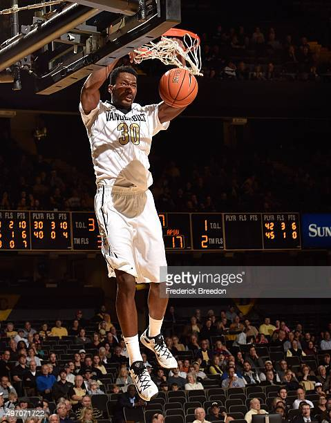 Damian Jones dunks against the Austin Peay Governors during the second half at Memorial Gym on November 13 2015 in Nashville Tennessee