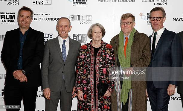 Damian Jones Nicholas Hytner Maggie Smith Alan Bennett and Alex Jennings at Odeon Leicester Square for 'The Lady In The Van' Centrepiece Gala on...